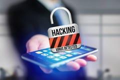 挂锁在未来派int被乱砍显示的安全连接 图库摄影