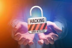 挂锁在未来派int被乱砍显示的安全连接 免版税库存照片