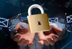 挂锁在颜色背景的安全连接- 3d 免版税库存图片
