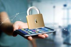 挂锁在颜色背景的安全连接- 3d 免版税库存照片