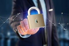 挂锁在颜色背景的安全连接- 3d 图库摄影