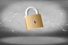 挂锁在颜色背景隔绝的安全连接- 3d 免版税库存图片