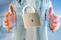 挂锁在颜色背景隔绝的安全连接- 3d 免版税库存照片