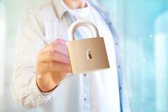 挂锁在颜色背景隔绝的安全连接- 3d 库存照片