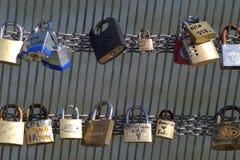 挂锁在Le Pont des艺术1 库存照片