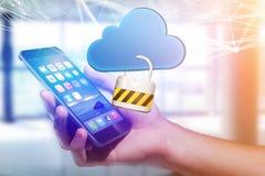 挂锁安全被连接到在未来派显示的云彩 库存图片