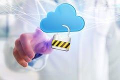 挂锁安全被连接到在未来派显示的云彩 免版税库存图片