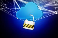 挂锁安全被连接到在未来派显示的云彩 库存照片