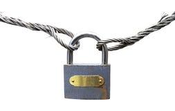 挂锁绳索生锈的电汇 免版税图库摄影