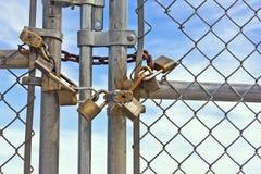 挂锁Chainlink篱芭 库存照片
