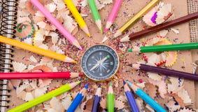 指南针仪器和五颜六色的铅笔 库存照片