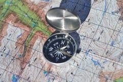 指南针和映射 图库摄影