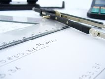 指南针和统治者 免版税图库摄影