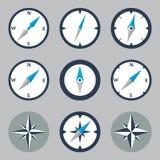 指南针和被设置的Windrose平的象 图库摄影