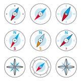 指南针和Windrose稀薄的线被设置的象 免版税库存照片