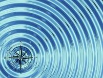 指南针(风上升了)在水中 库存照片