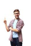 指向一个好主意的激动的人-被隔绝在白色背景 免版税图库摄影