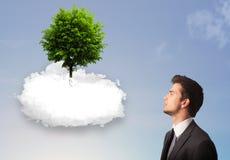 指向一棵绿色树的年轻人在一朵白色云彩顶部 图库摄影