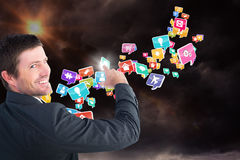 指向与他的手指3d的商人的综合图象 免版税库存照片