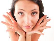指向两个现有量往的兴奋少妇 免版税库存照片