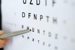 指向信件的银色圆珠笔在眼力检查桌里 免版税库存照片