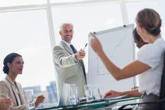 指向同事的快乐的上司 免版税库存图片