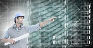 指向和修造在绿色背景的建筑师方案 免版税库存图片