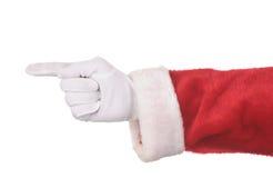 指向圣诞老人的克劳斯 免版税库存照片