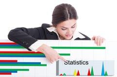 指向在与统计的纸板的女性企业家 库存图片