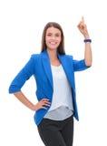 指向在白色背景的年轻女商人画象  库存图片