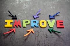 指向在的五颜六色的字母表词改善的多个箭头 库存照片