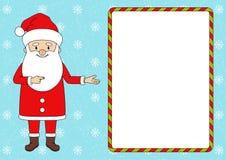 指向在空白的广告横幅1的圣诞老人 皇族释放例证