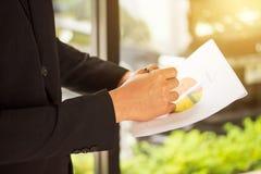 指向在纸,数据analysi的圆形统计图表的商人的手 库存照片