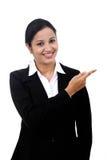 指向复制空间的新女商人 免版税库存图片