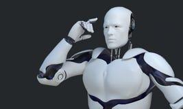 指向它的头的白色机器人技术 技术在将来,在黑blackground 库存图片