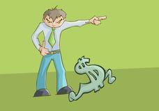 指向左边和美元的符号赛跑的恼怒的人翻倒 皇族释放例证