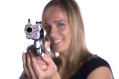 指向微笑的枪 免版税图库摄影