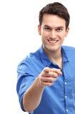 指向您的年轻人 免版税库存照片