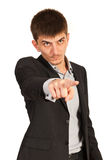 指向您的恼怒的商人 免版税库存图片