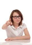 指向您的恼怒的妇女纵向 库存图片