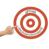 指向手与词的箭:目标成就 库存图片