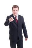 指向手指的会计或财政经理照相机 图库摄影