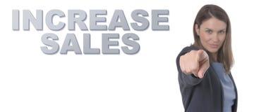 指向文本增量销售概念的女商人 免版税库存图片