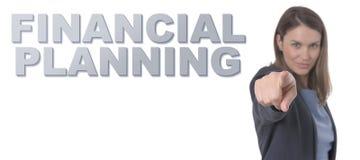 指向文本财政规划概念的女商人 库存图片