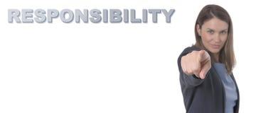 指向文本责任概念的女商人 免版税库存照片