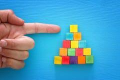 指向木刻金字塔上面的一只男性手的顶视图图象  免版税库存图片