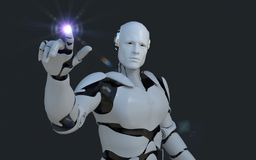 指向某事在它前面的白色机器人技术 技术在将来,在黑背景 库存图片