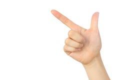 指向标志的手 免版税图库摄影