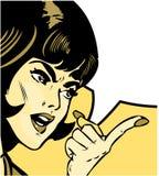指向样式妇女的恼怒的漫画 免版税库存照片