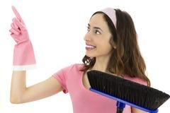 指向由拷贝空间决定的清洁女仆 图库摄影